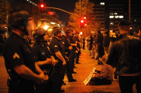 Outside the Occupy L.A. perimeter on Tuesday evening | Photo by Tom Andrews