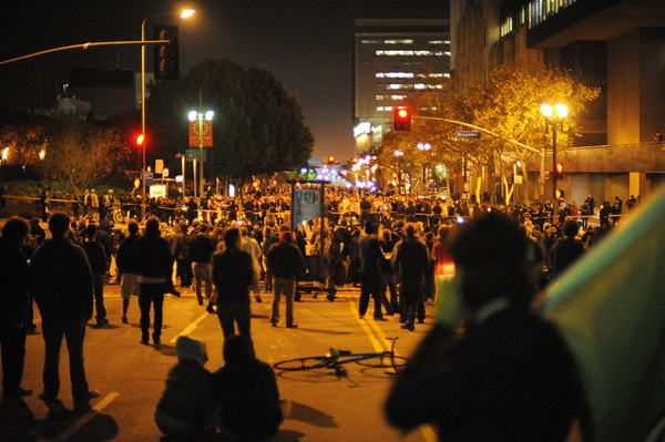 Outside the Occupy L.A. eviction perimeter at 1st & Broadway | Photo by Tom Andrews