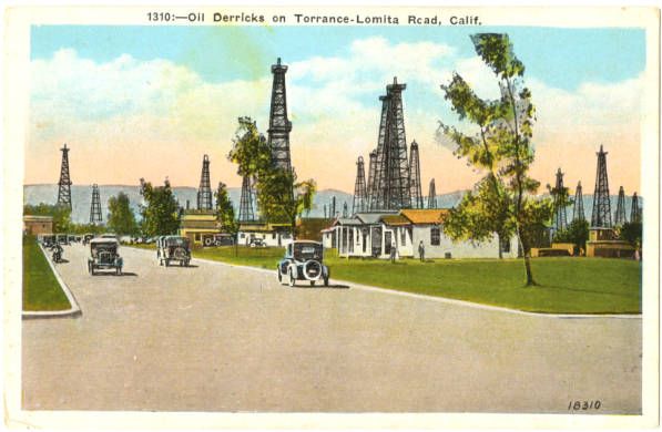 As this ca. 1920s postcard shows, oil derricks and houses co-existed in Torrance. Courtesy of the South Bay History Collection, Cal State Dominguez Hills Archives.