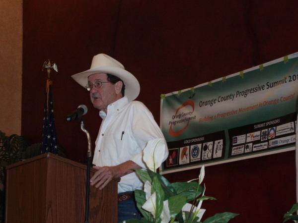 Writer and radio commentator Jim Hightower speaks at the Orange County Progressive Summit | Photo by Shirin Parsavand