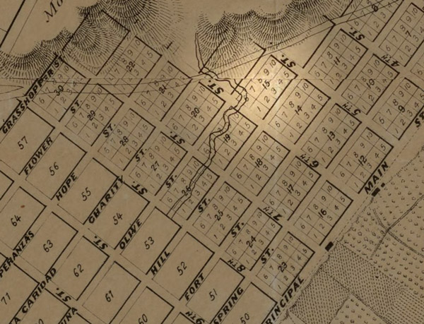 Pershing Square began as Block 15 on E. O. Ord's 1849 survey of Los Angeles. Courtesy of the Map collection on Los Angeles, California, the United States and the world; UCLA Young Research Library.