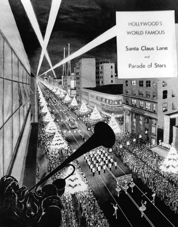 Hollywood film stars accompanied St. Nicholas in the annual Santa Claus Lane Parade. Courtesy of the California Historical Society Collection, USC Libraries.