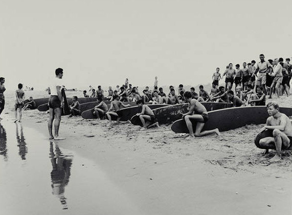 Paddleboard race in Santa Monica Bay on August 13, 1949. Courtesy of the Santa Monica Public Library Image Archives
