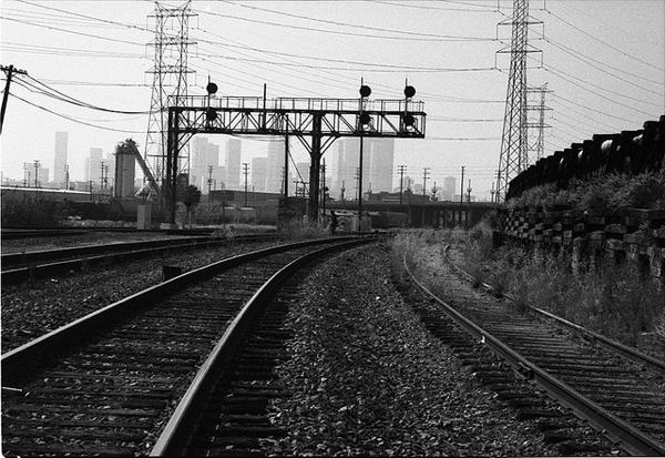 Railroad tracks outside downtown Los Angeles
