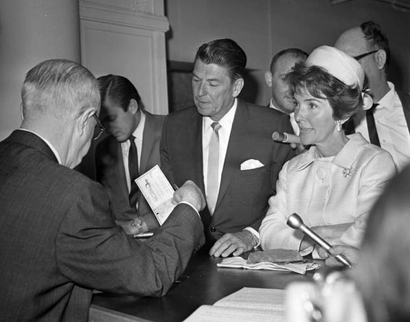 Ronald Reagan files papers with the L.A. County registrar of voters to run for governor of California in 1966. Courtesy of the Los Angeles Times Photographic Archive, Department of Special Collections, Charles E. Young Research Library, UCLA.