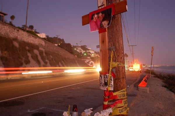 A roadside memorial on the Pacific Coast Highway.