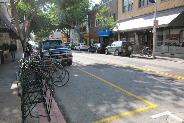 A bicycle corral in downtown San Luis Obispo | Photo by Zach Behrens