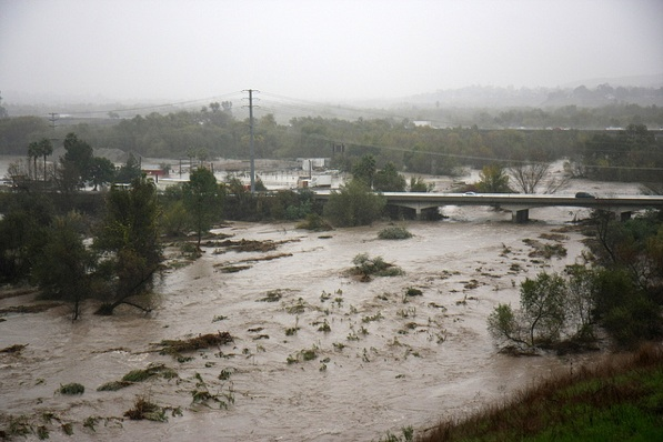The Santa Ana River in Norco during storms in December 2010