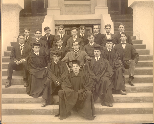 Robinson Jeffers, seated on the far left in the third row from the front, graduated from Occidental College in 1905. Courtesy of the Special Collections, Occidental College Library.