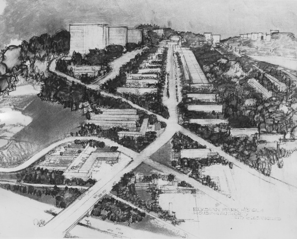Architect Richard Neutra's vision for the Elysian Park Heights development. Courtesy of the Southern California Library for Social Studies and Research, Housing Authority of the City of Los Angeles Photograph Collection.