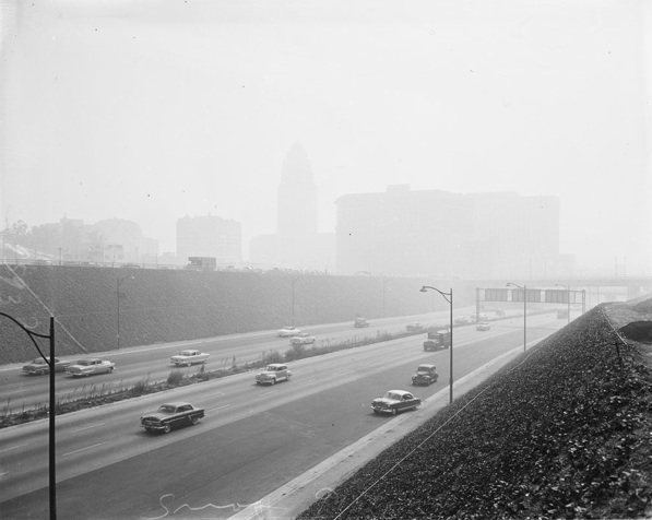 A hazy downtown Los Angeles on Christmas Eve 1948 | USC Libraries Special Collections - Los Angeles Examiner Collection
