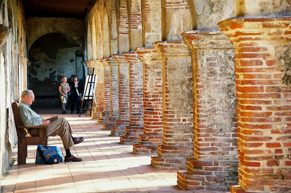 Reading at the Mission San Juan Capistrano in Orange County