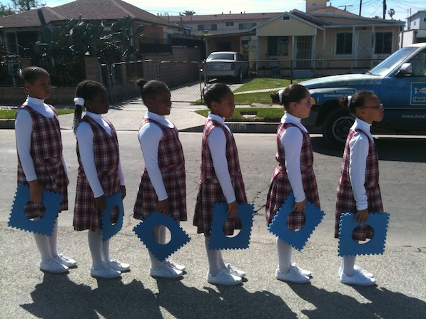 The Wisdom Academy for Young Scientists drill team | Photo by Zach Behrens/KCET