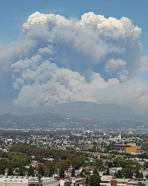 A pyrocumulus cloud forms over the Station Fire in 2009