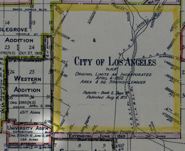 Detail of a 1916 map showing territory annexed to the City of Los Angeles. Agricultural Park was located just outside the southwestern corner of L.A.'s city limits until the city annexed the land in 1899. Map by J. R. Prince, courtesy of the Big Map Blog.