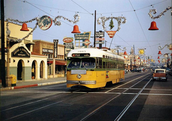 A streetcar in East Los Angeles. Courtesy of the Metro Transportation Library and Archive.