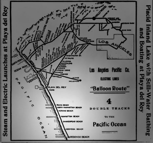 By 1903, the Los Angeles Pacific Railroad added yet another rail connection between Los Angeles and Manhattan Beach. Courtesy of the Title Insurance and Trust, and C.C. Pierce Photography Collection, USC Libraries.