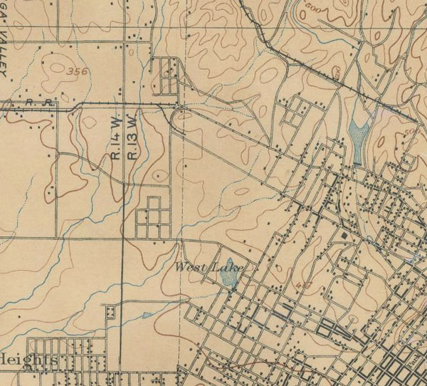 The same map records the path of several streams west of downtown L.A., including the Arroyo de la Sacatela and the Arroyo de las Reyes. Courtesy of the Henry J. Bruman Map Collection, University of California, Los Angeles Library