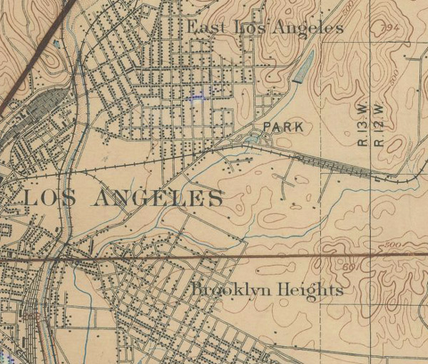 This detail of an 1897 USGS map records the paths of several streams on L.A.'s Eastside, including the Arroyo de las Pasas. Courtesy of the Henry J. Bruman Map Collection, University of California, Los Angeles Library.