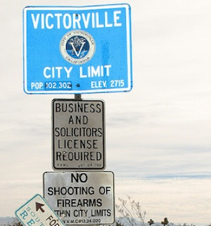 Signs before entering Victorville, CA