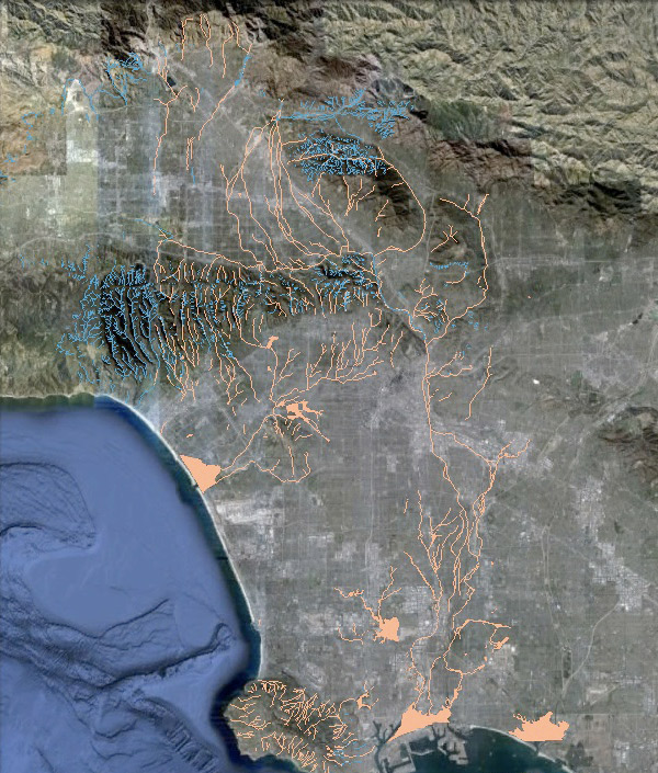 Google Earth satellite imagery of Los Angeles overlaid with L.A.'s historical streams and wetlands. Courtesy of Jessica Hall, L.A. Creek Freak.