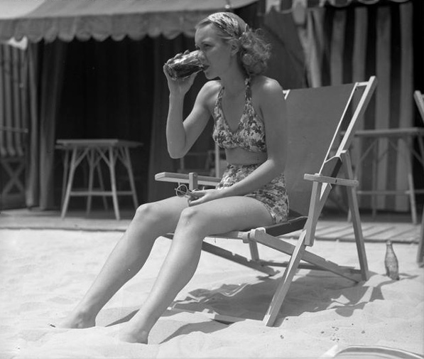 Actress Jane Wyman, later to become the first wife of Ronald Reagan, on the beach in 1935.