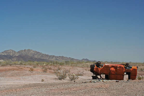 Van with Palo Verde Mountains in background | Chris Clarke photo