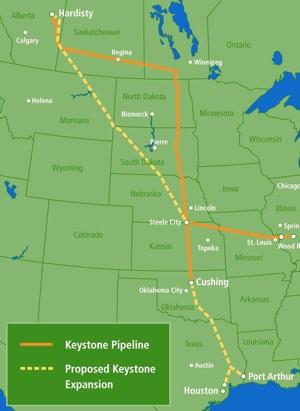 Map of the Keystone Pipeline | Image: Sen. Mike Johanns
