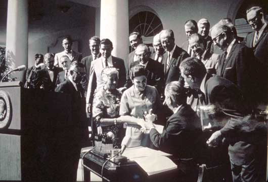 Lyndon B. Johnson signing the Wilderness Act