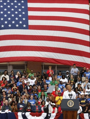 President Barack Obama delivers a speech at a Labor Day event in Detroit | Photo by Bill Pugliano/Getty Images