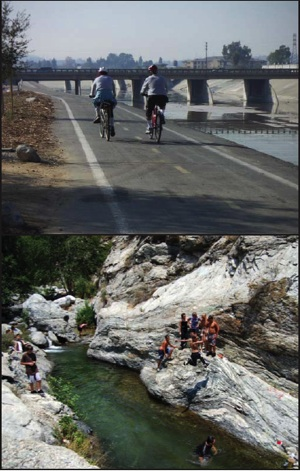 Above: San Gabriel River Bike Trail in 2004. Below: North Fork San Gabriel River, Angeles National Forest. | Photos: Courtesy National Park Service