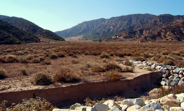 Looking west northwest from Glen Helen Parkway into the mouth of Sycamore Canyon; proposed site of Neighborhood 1 of the Lytle Creek Ranch Specific Plan, beneath which lies the Glen Helen fault | Photo Courtesy of William O. Butler