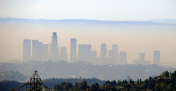 Downtown Los Angeles seen from the Angeles National Forest
