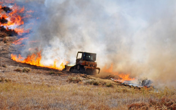 A CAL FIRE/Riverside County Fire bulldozer on the Keller Fire outside Menifee in Riverside County | Photo courtesy CAL FIRE