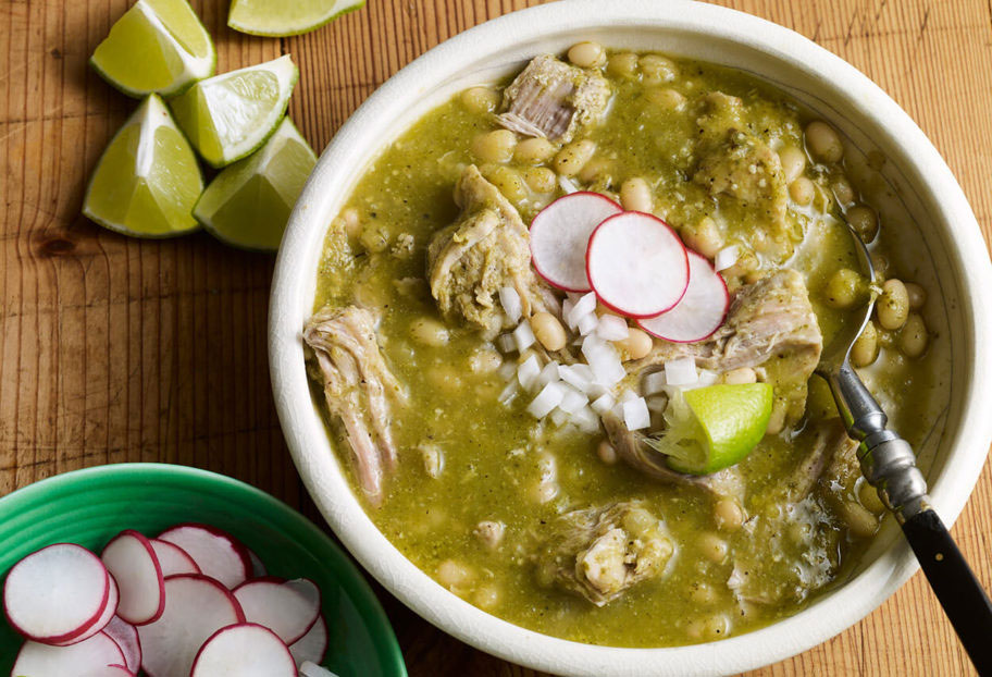 mole verde with pork and white beans