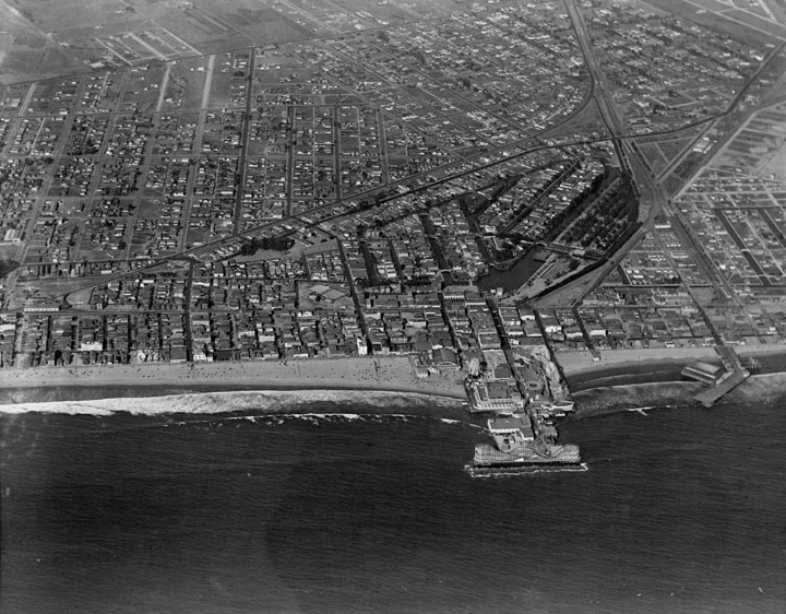 Circa 1920s aerial view of the city of Venice and the original canals. Courtesy of the Los Angeles Public Library Photo Collection.