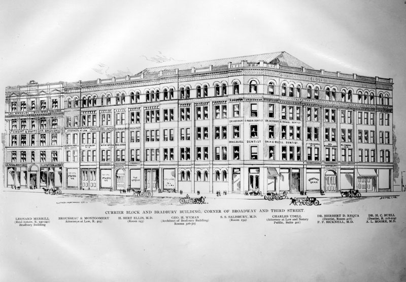 Drawing Of The Bradbury Building Circa 1893 Showing Prospective Tenants