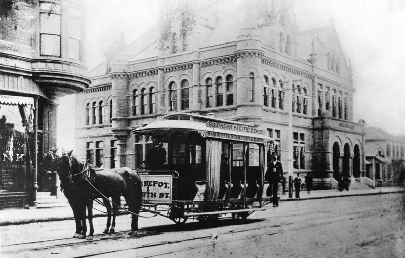 A horse-drawn streetcar in front of the Los Angeles post office on Main Street, circa 1892. Courtesy of the Security Pacific National Bank Collection, Los Angeles Public Library.