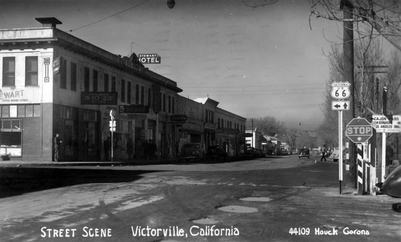 Route 66 in Victorville, California. Courtesy of the Security Pacific National Bank Collection - Los Angeles Public Library.