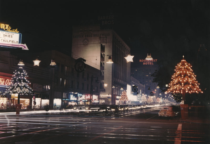 Hollywood Boulevard decorated for the holidays, circa 1950. Courtesy of the Photo Collection, Los Angeles Public Library.