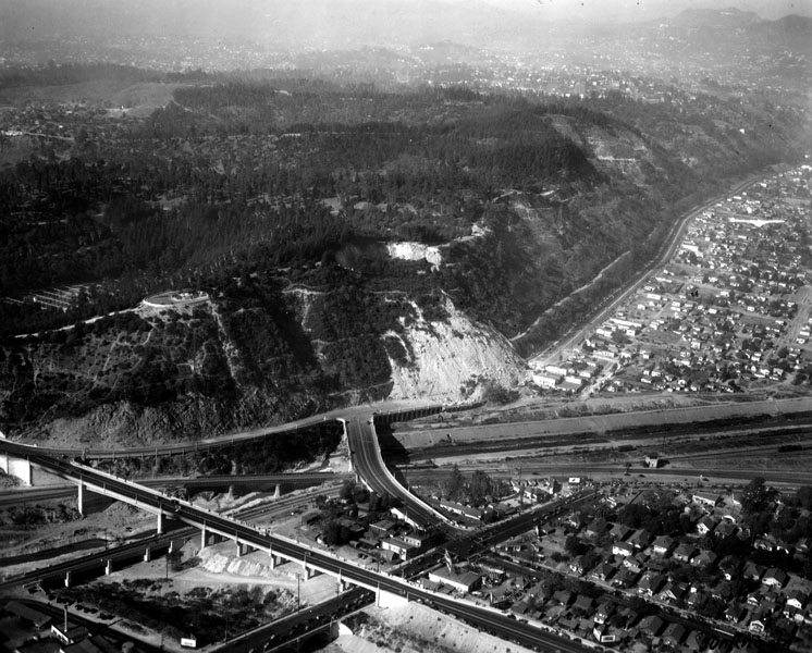 An aerial view of the landslide, which crushed the Riverside Drive viaduct and forced the city to condemn several homes and businesses. Courtesy of the Security Pacific National Bank Collection - Los Angeles Public Library.