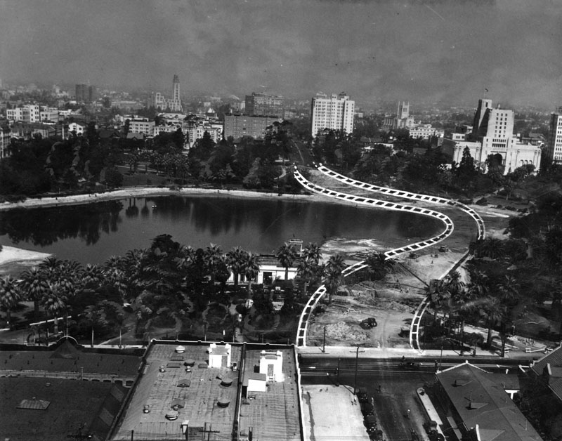 Another illustration showing progress on the Wilshire causeway. Courtesy of the Herald-Examiner Collection, Los Angeles Public Library.