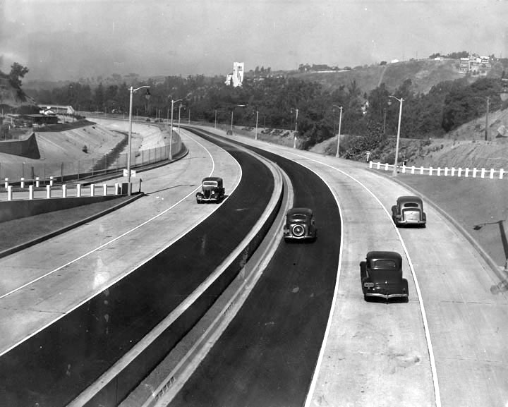 1940 photo of the Arroyo Seco Parkway (CA-110), courtesy of the Los Angeles Public Library's Herald-Examiner Collection
