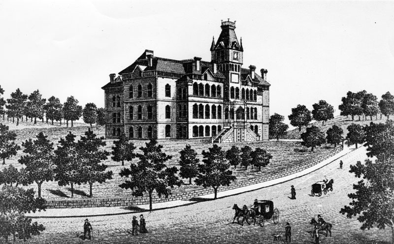 In 1882, the California Branch State Normal School opened on the site of Bellevue Terrace. Courtesy of the Photo Collection - Los Angeles Public Library.