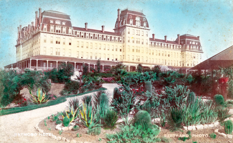 Circa 1890 hand-colored photograph of the Raymond Hotel. Courtesy of the Security Pacific National Bank Collection, Los Angeles Public Library.