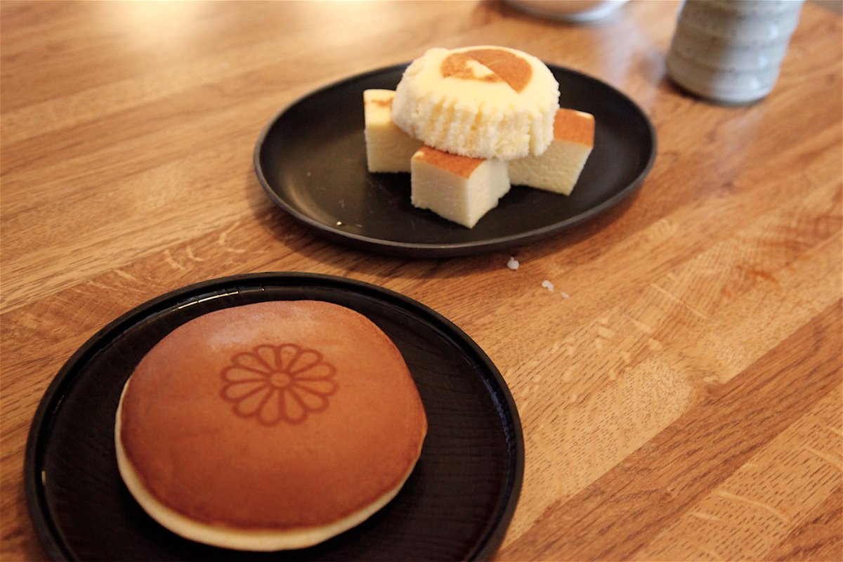 (L) Dorayaki - Japanese pancake with red beans, crushed chestnut $2.50 (R) Steamed Cheesecake | Mariko Lochridge