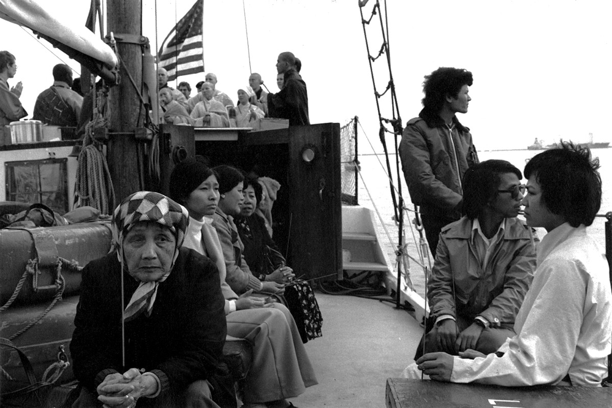 The Venerable Thich Thien-An leading a ceremony on a boat in the Los Angeles Harbor, 1979 | Don Farber