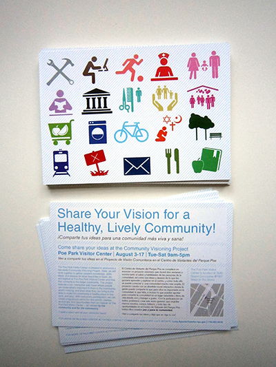 Community outreach materials distributed to local institutions, businesses, and residents. | Courtesy of VisionArc