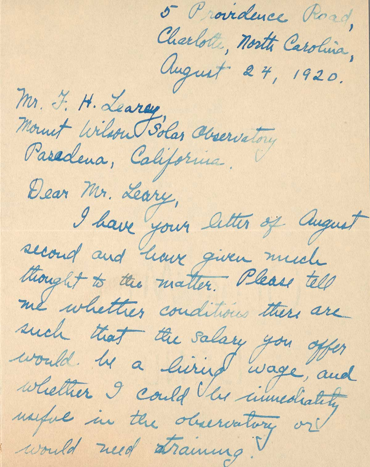 Letter to F.H. Seares of Mt. Wilson observatory from Charlotte Abbott p1 | Image courtesy of the Observatories of the Carnegie Institution for Science Collection at the Huntington Library, San Marino, California