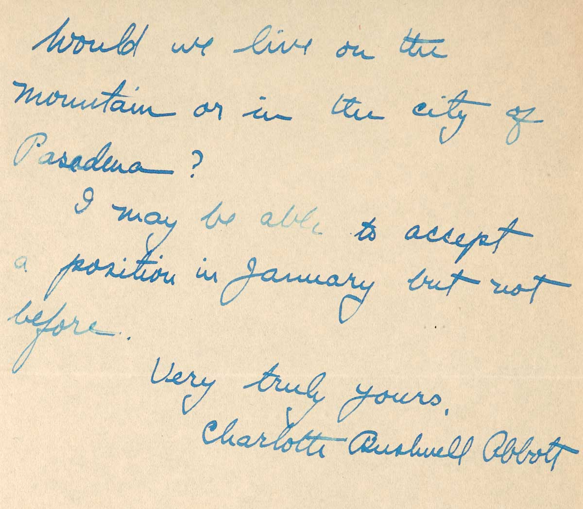 Letter to F.H. Seares of Mt. Wilson observatory from Charlotte Abbott p2 | Image courtesy of the Observatories of the Carnegie Institution for Science Collection at the Huntington Library, San Marino, California